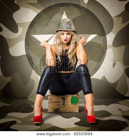 Beautiful Army Pinup Woman On Ammo Box