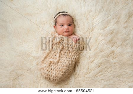 Newborn Baby Girl In Pouch