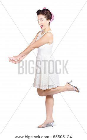 Surprised Housewife Kicking Up Leg In White Dress