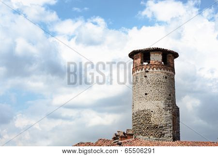 Medioeval Tower Made Of Bricks And Stones