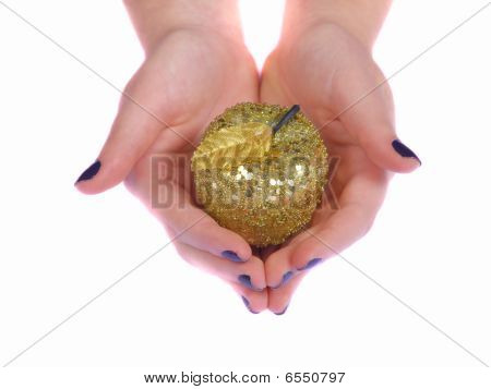 Hands Giving Gold Apple