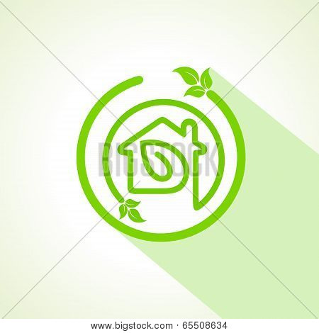 Eco home icon with leaf stock vector