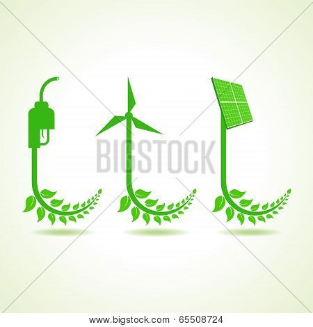 Eco icon with nozzle,wind-mill and solar panel stock vector