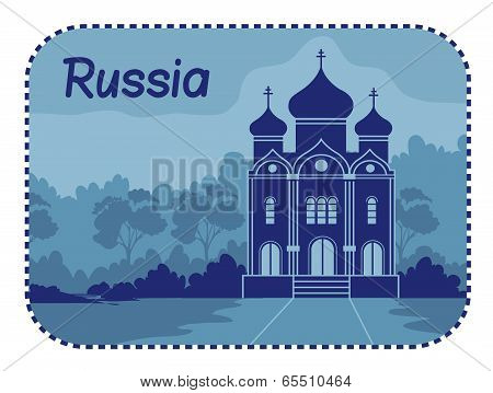 Illustration with Orthodox church in Russia