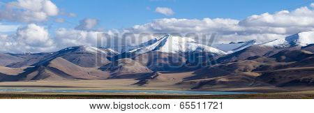 Tso Kar Mountain Lake Panorama With Mountains And Blue Sky Reflections In The Lake (north India)