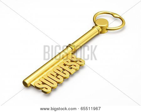 Success wealth prosperity concept - golden key to success made of gold isolated on white background