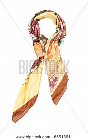 A silk neckerchief is brown with the coloured picture isolated on a white background