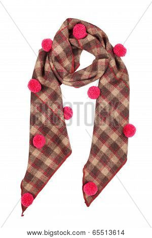 A scarf is woolen from fabric in a cell with pink buboes