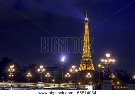 Paris - May 9:  Eiffel Tower And Pont Alexandre Iii At Night Illumination.