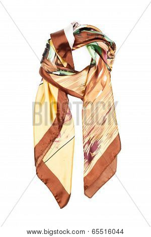 The neckerchief silk with an abstract pattern, isolated, on a white background