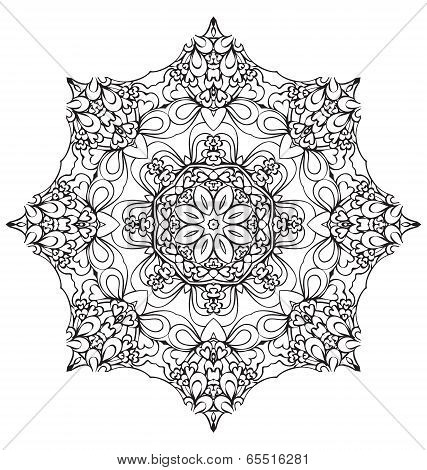 Round Lace Ornament Isolated On White. Round Ornament With Many Details, Looks Like Crocheting Handm