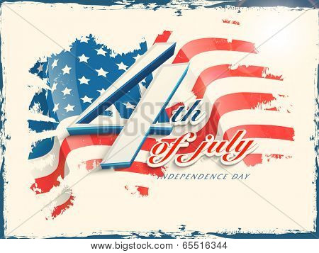 Vintage poster, banner or flyer design with stylish text 4th of July on grungy flag colors background for American Independence Day celebrations.