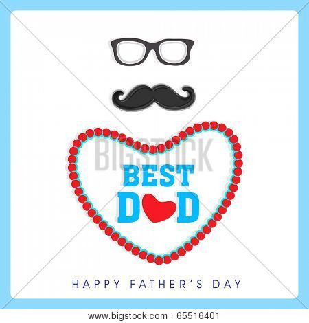 Happy Father's Day celebrations concept with eye glasses, mustache, and stylish text Best Dad in heart shape on grey background.