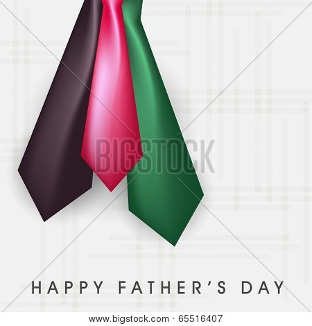 Happy Father's Day celebration greeting card design with shiny colourful necktie on blue background.