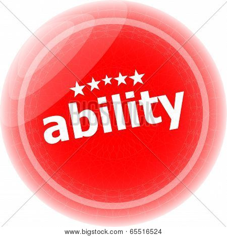 Ability Word Stickers Icon Button Isolated On White