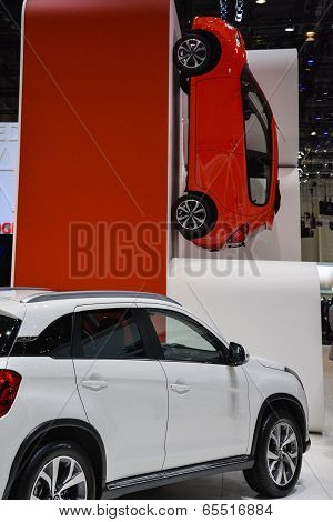 Citroen C1 Hanging On A Wall At The Geneva Motor Show