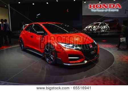 Honda Civic Type R Concept Car At The Geneva Motor Show