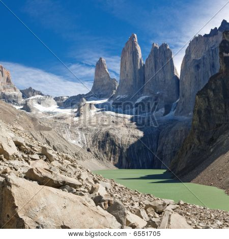 The Three Towers At Torres Del Paine National Park, Patagonia, Chile