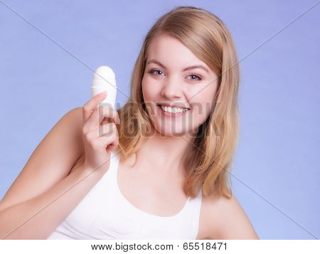 Girl Applying Stick Deodorant