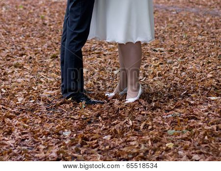 The bride and the groom at atlas dress yellow foliage