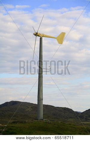 Wind turbine in a remote part of Scotland, Europe
