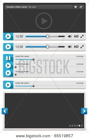 White web video audio and images players isolated on white. Vector illustration