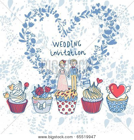 Sweet Wedding - concept romantic card in vector. Beautiful couple in cartoon style with tasty cupcakes in blue colors. Stylish Save the Date invitation card