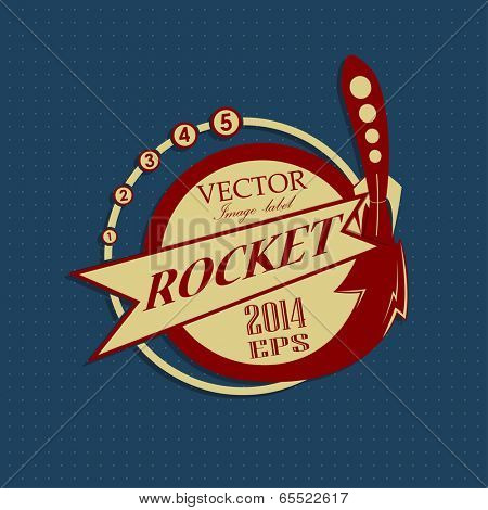 retro label with rocket