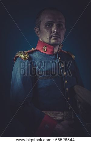 Leadership, general of the Spanish army, blue coat and gold epaulettes