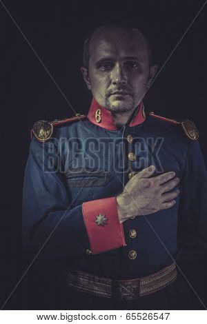 Peace, old soldier style jacket with blue and gold epaulettes, Spanish army