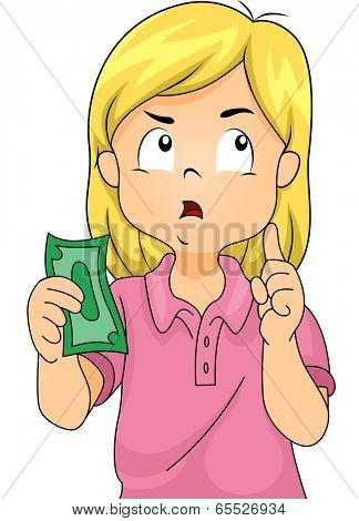 Illustration of a Girl Thinking to Herself While Holding a Paper Bill