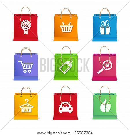 Vector Shopping icon set on shopping bag