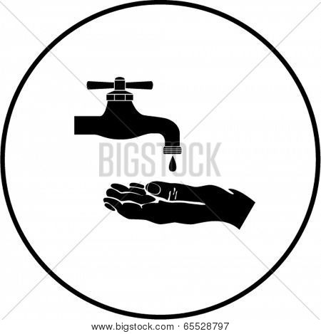 hand and faucet symbol