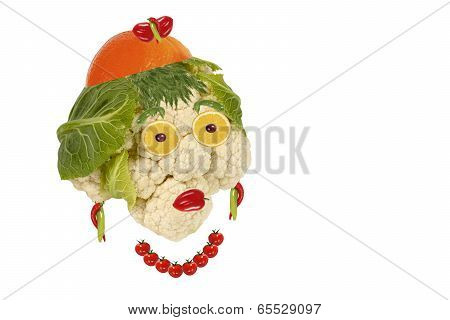 Creative Food. Portrait Of A Woman Made ??of Fruits And Vegetables