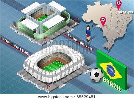 Isometric Stadium Of Cuiaba And Fortaleza, Brazil