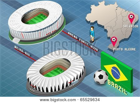 Isometric Stadium Of Salvador And Porto Alegre, Brazil