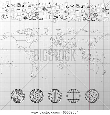 Political world map in exercise book with world globes and other elements vector