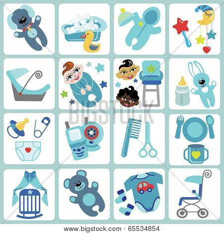 Cute Cartoons Icons For Baby Boy.baby Care Set