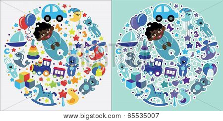 Toys Icons For Mulatto Baby Boy.circle Composition Set