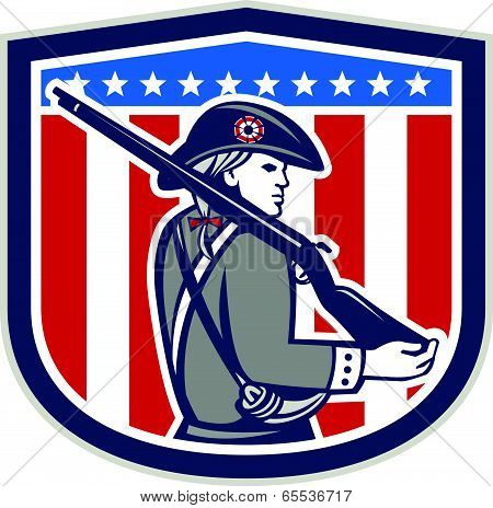 American Patriot Minuteman Holding Musket Rifle Shield Retro