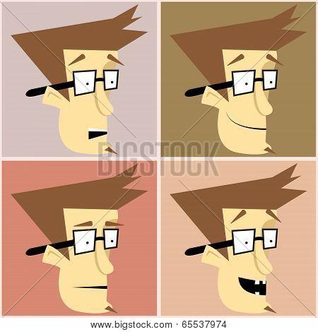 Hipster Man Set Character