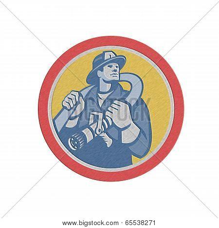 Metallic Fireman Firefighter Holding Fire Hose Retro