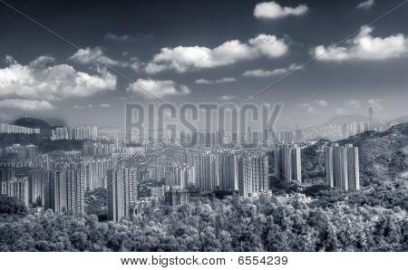 Beautiful City Scenes Of Apartments Near Hill