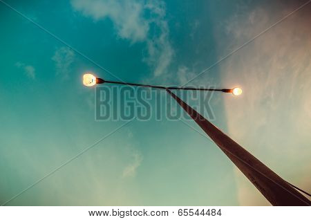 Cloud Light Sky And Light Pole Vintage Color