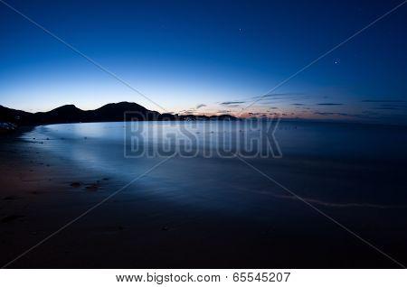 Night Shot Of Sea.