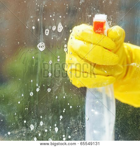 Soapy Detergent On Window Glass During Washing