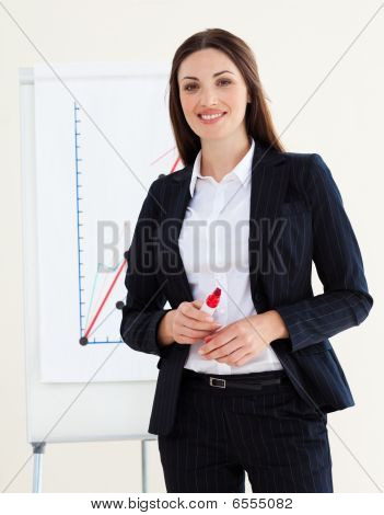 Young Businesswoman Giving A Conference