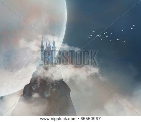 Fantastic castle on a mountain. Some elements of this image furnished by NASA