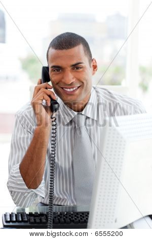 Afro-american Businessman On Phone
