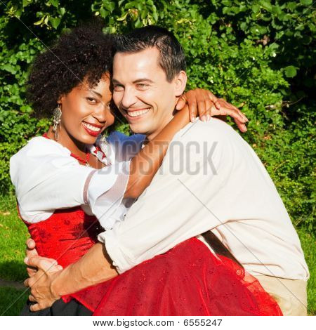 Couple in traditional Bavarian dress
